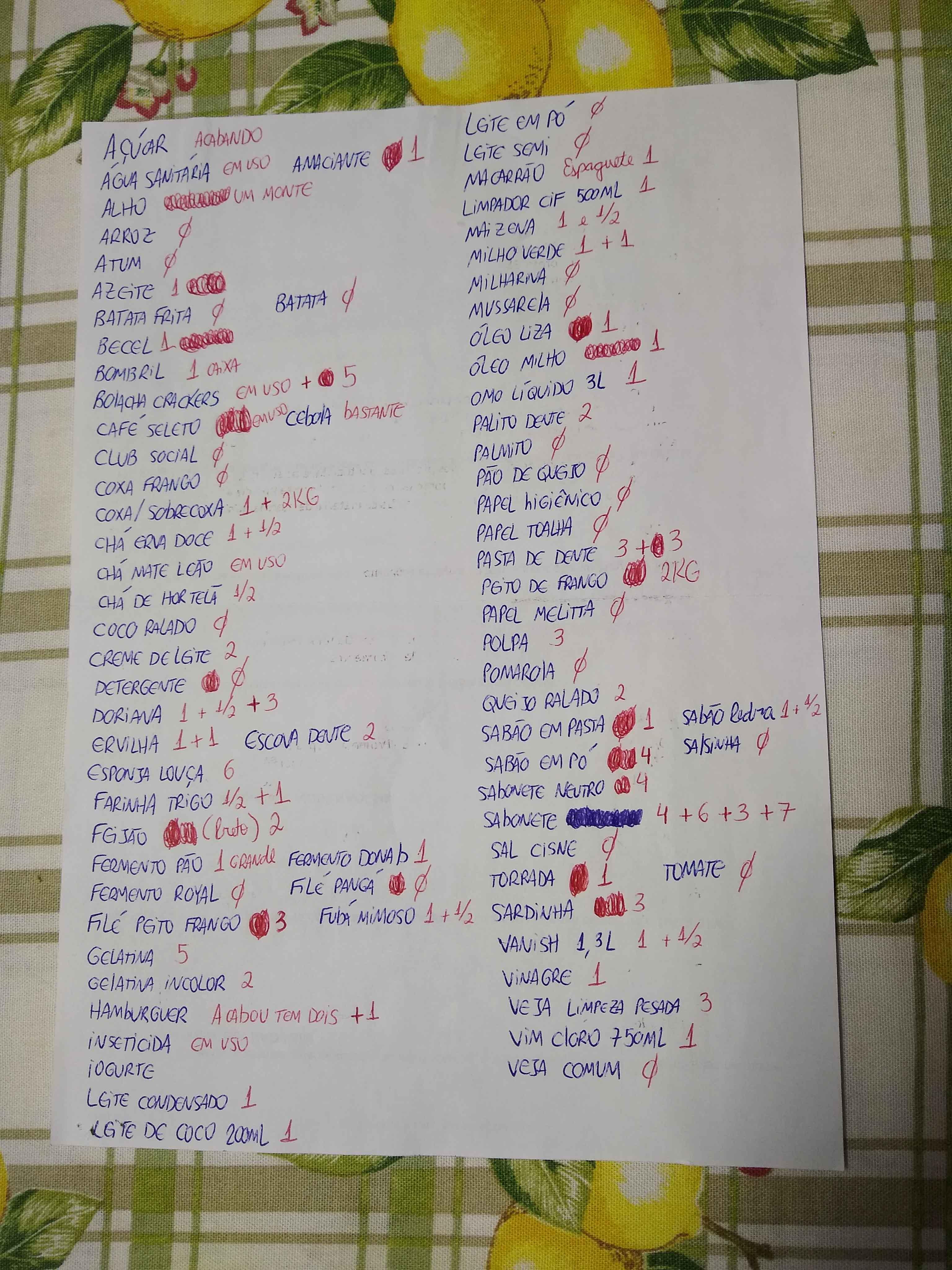 lista de supermercado básica